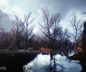 В кадр из новой Dragon Age попал пруд у подножья горы