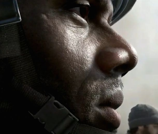 На первом снимке Call of Duty 2014 виднеются поры кожи солдата