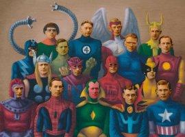 Художник превращает винтажные фотографии волдскульные арты ссупергероями